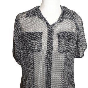 Charter Club 14W Black Sheer 100% silk blouse